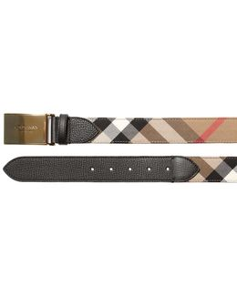 35mm House Check Canvas & Leather Belt