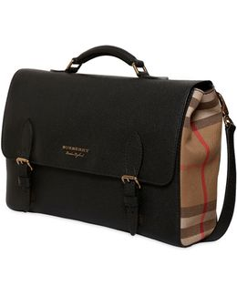 Check Canvas & Leather Messenger Bag