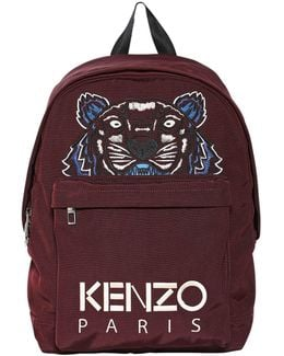 Tiger Embroidered Nylon Canvas Backpack