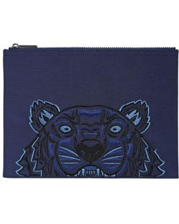 Tiger Embroidered Nylon Canvas Pouch