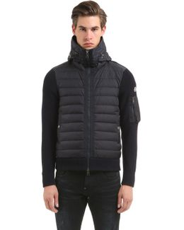 Hooded Nylon & Wool Knit Down Jacket