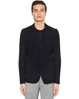 Stretch Woven Effect Jersey Jacket