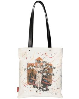 Punk Poem Print Cotton Gabardine Tote