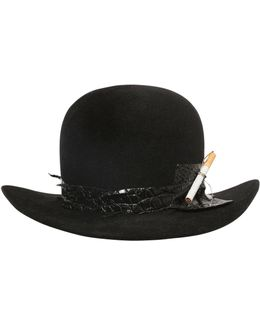 Fur Felt Bowler Hat W/ Cigarette Holder