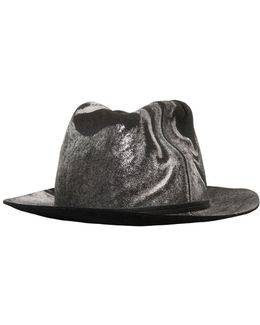 Metallic Marble Effect Wool Felt Hat