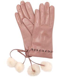 Leather Gloves W/fur Pompoms