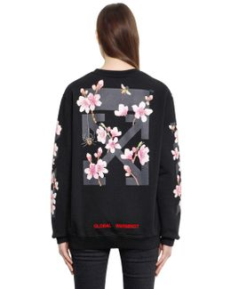Cherry Blossom Cotton Jersey Sweatshirt