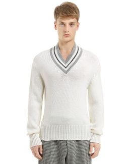 Wool Knit Sweater W/ Striped V Neck
