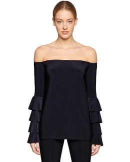 Ruffled Sleeve Jersey Top
