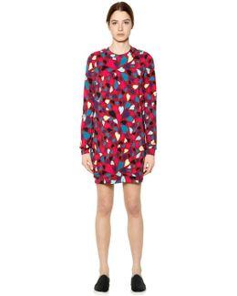 Heart Print Cotton Sweatshirt Dress
