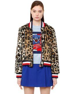 Leopard Print Faux Fur Bomber Jacket
