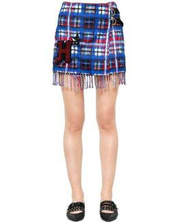 Plaid Fringed Wool Blend Mini Skirt