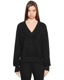 Bailee V Neck Wool Cutout Sweater