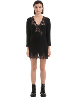 Floral Lace & Boiled Wool Dress
