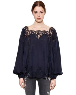 Floral Lace & Washed Silk Top