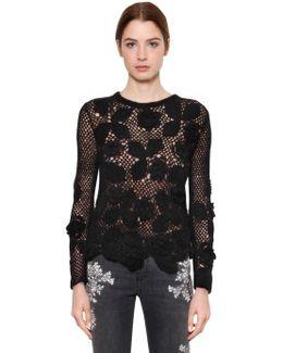 Floral Wool Blend Crochet Sweater