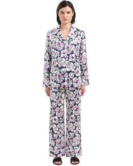 Lila Floral Print Silk Satin Pajama Set