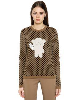 Polka Dot Jacquard Wool Blend Sweater
