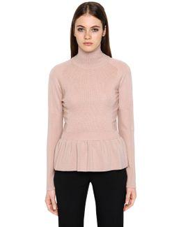 Wool Sweater W/ Ruffled Hem