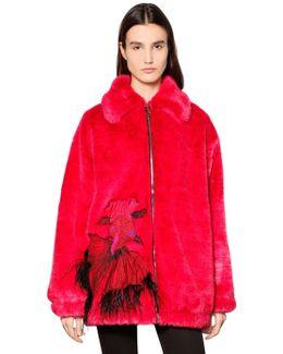 Carp Faux Fur Short Coat W/ Feathers