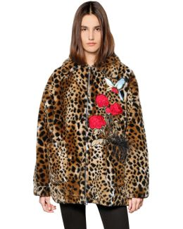 Bird & Roses Leopard Faux Fur Short Coat