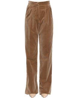 Velvet Palazzo Pants W/ Pleats