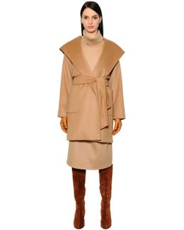 Hooded Camel Coat W/ Belt
