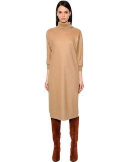 Wool Knit & Felt Turtleneck Dress