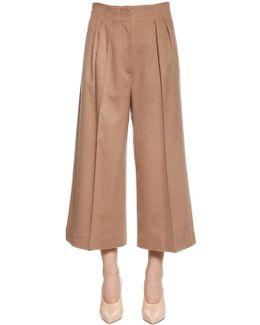 High Waist Camel Wide Leg Cropped Pants
