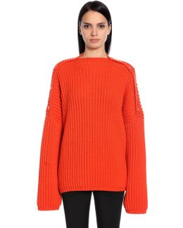 Stretch Wool Rib Knit Sweater