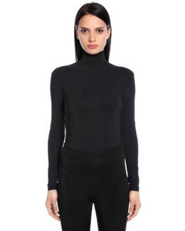 Stretch Jersey Turtleneck Top