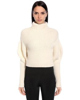 Puff Sleeve Stretch Wool Sweater