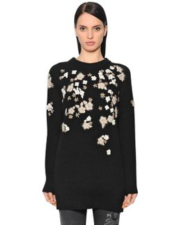 Floral Wool & Cashmere Knit Sweater