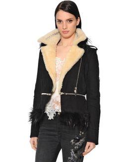 Moleskin Jacket W/ Shearling & Fox