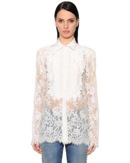 Flowers Lace & Crepe De Chine Shirt