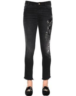 Slim Fit Embroidered Stretch Denim Jeans