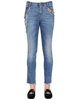 Slim Embroidered Stretch Denim Jeans