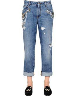 Boyfriend Embellished Cotton Denim Jeans