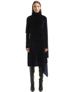 Open Back Panel Velvet Midi Dress