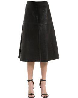 Flared Stretch Leather Midi Skirt