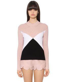 Ribbed Geometric Wool Knit Sweater