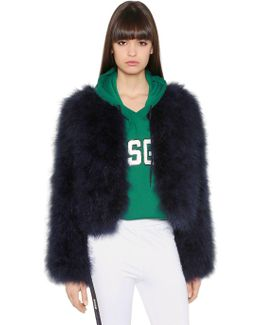 Cropped Ostrich Feather Jacket