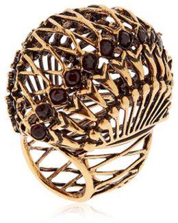 Brass Ring W/ Garnet Stones