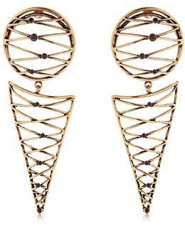 Brass Earrings W/ Garnets