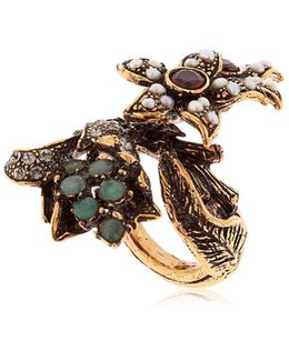 Flora Pearl, Emerald & Crystal Ring
