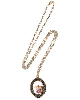 Granite & Pearl Charms Locket Necklace