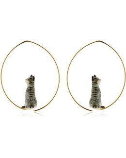 Mini Grey Cat Earrings
