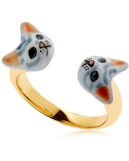 Grey Cats Face To Face Ring