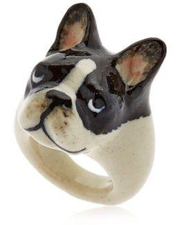 Black & White French Bulldog Ring