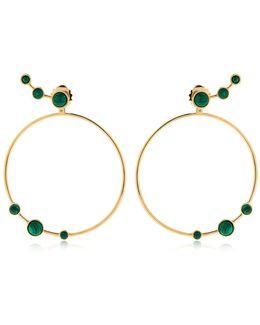 Lava Malachite Circle Earrings